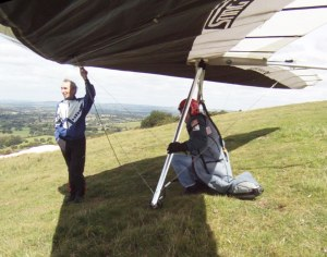 Waiting to launch a hang glider