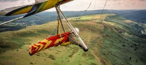 Hang glider flying at Merthyr Tydfil, south Wales, in August 2000