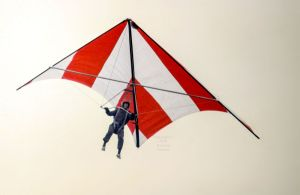 Skyhook IIIA standard Rogallo hang glider flying in early 1975