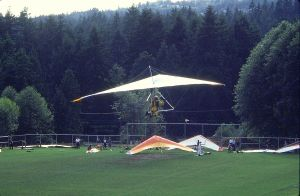 Final approach in a hang glider at Grouse Mountain in 1984. Photo by Jan Kulhavy.