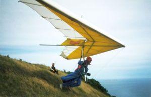 Hang glider at Kimmeridge, Dorset, England, in 2002