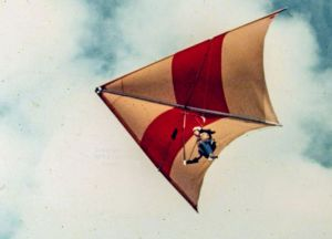 Hang glider in 1975 with British 'west country' sail cut and was likely made by McBroom Sailwings of Bristol.