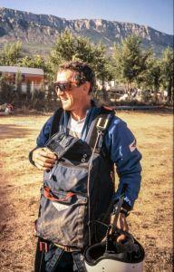 Hang glider pilot in Spain, 1993
