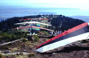 Hang glider line on the ramp at Grouse Mountain in 1984. Photo by Jan Kulhavy.