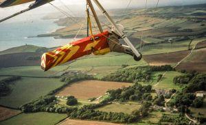 Hang glider flying at Kimmeridge, Dorset, England, in 2000