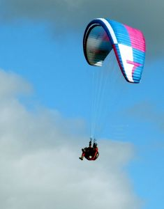 Paraglider at Monk's Down in October 2016