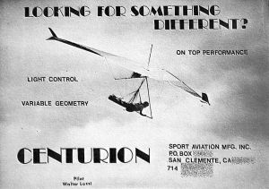 Sport Aviation Centurion hang glider advert in Whole Air, March-April 1983