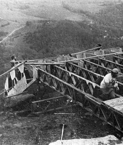 Construction of hang glider launch ramp at Henson's Gap, Tennessee, in 1982
