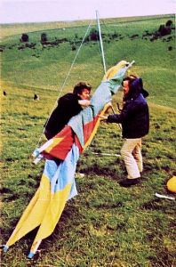 Nick Regan with a Seagull 3 hang glider in 1974