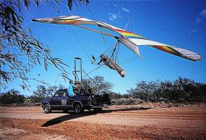 Tony Barton launching in a hang glider by using an ATOL system in southern Arizona. Photo by Mark Sawyer.