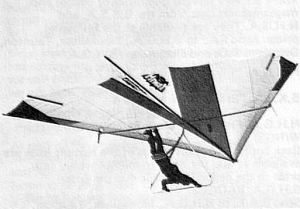 Brian Wood flying a prototype for Hiway Hang Gliders of Brighton, Sussex, England, in 1975