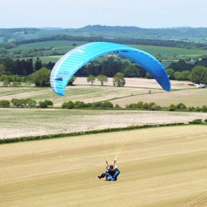 RAF dual paraglider at Monk's Down in 2015