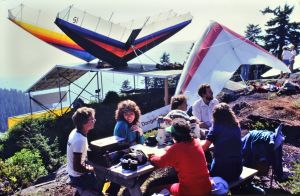 Picnic by hang gliders on the launch ramp at Grouse Mountain in 1984. Photo by Jan Kulhavy.