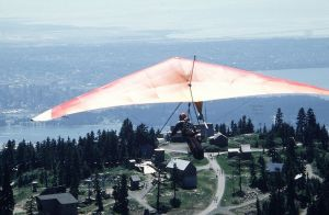 Hang glider just after launching at Grouse Mountain in 1984. Photo by Jan Kulhavy.