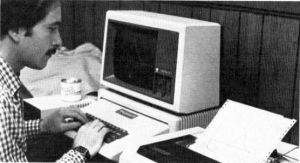 Steve Pearson using an Apple II with Monitor III