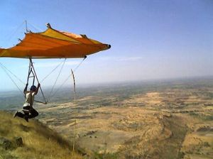 Vijay Sulakhe launching in his home-built hang glider