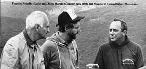 NASA engineer Francis Rogallo, hang gliding instructor John Harris, and hang gliding pioneer Bill Moyes. at Grandfather Mountain in 1984. Photo by Hugh Morton.
