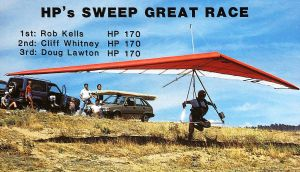 Rob Kells launches in a Wills Wing HP hang glider