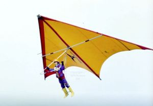 Andrew Hill in a specially built mini Birdman Firebird hang glider