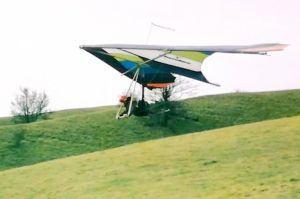 David Parsons launching in a Birdman Cherokee hang glider