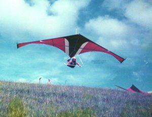 Dave Raymond launches the prototype Birdman Moonraker hang glider in 1976