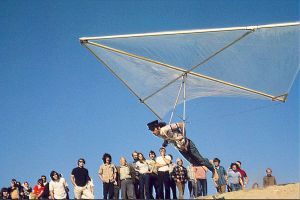 Dick Eipper flying a hang glider