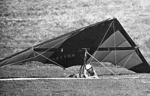 Irv Alward having failed to reach the LZ in his Cirrus 3 at Escape Country in April 1976. Photo by Stephen McCarroll.