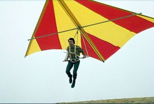 Joe Faust launches in a hang glider, about 1971. Photo by Doug Morgan.