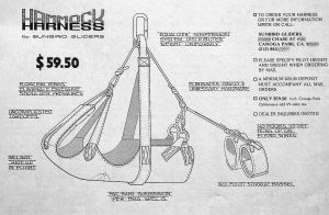 Sunbird hang glider 'knee hanger' prone harness of 1975