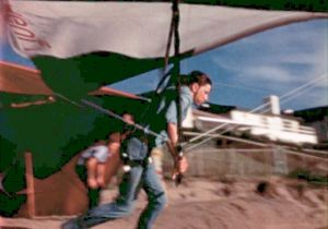 Pat Conniry launching  from the bluffs at Torrance Beach in a Seagull 3 hang glider in 1973