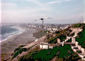 Pat Conniry flying  at Torrance Beach in a Seagull 3 hang glider in 1973