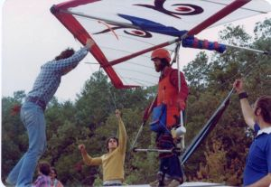 Doug Meehan about to launch in a Peregrine Aviation Owl hang glider