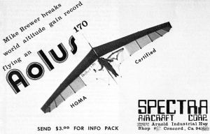 Spectra Aolus hang glider advert of 1981