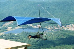 Brock Standard Rogallo hang glider launching from Grandfather Mountain in September 1975