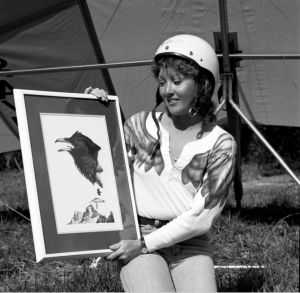 Cyndee Moore, first female recipient of the Order of the Raven photographed on 28 October 1978