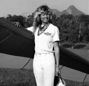 Debbi Renshaw, first female competitor in the Masters of Hang Gliding competition at Grandfather Mountain