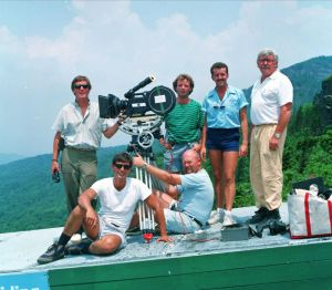 Film crew at Grandfather Mountain in July 1979 or 1980