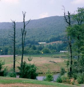 Final approach to the lawn landing zone at Grandfather Mountain in September 1975