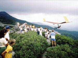 Manta Fledgeling launching near the Mile High Swinging Bridge at Grandfather Mountain