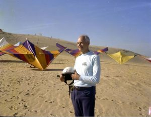 Francis Rogallo at Jockey's Ridge State Park in about 1975