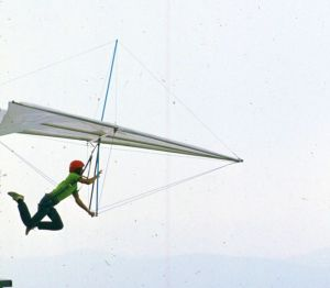 A hang glider launches from the ramp at Grandfather Mountain in September 1975