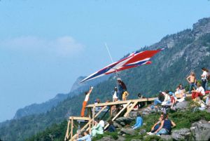 Hang glider preparing to launch from Grandfather Mountain in September 1975