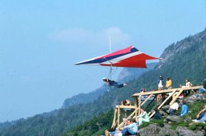 Hang glider launching from Grandfather Mountain in September 1975
