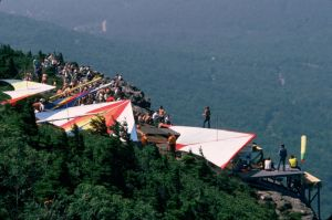 Hang gliders in line waiting to launch from Grandfather Mountain in September 1975