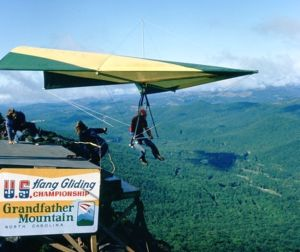 Hang glider launching from Grandfather Mountain in June 1975
