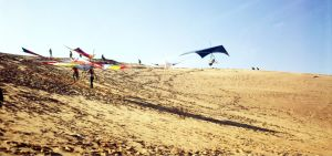 Hang glider launching at Jockey's Ridge State Park in about 1975