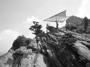 John Harris readying for the first ever hang glider flight from Grandfather Mountain, North Carolina, on July 13th, 1974