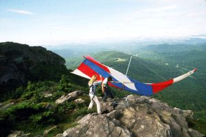 Hang glider launch area atop Grandfather Mountain