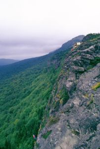 Hauling up a downed wing  at Grandfather Mountain in September 1975