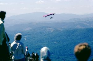 Seagull III camera ship flies by Grandfather Mountain in September 1975